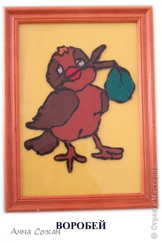 Картина, панно, рисунок Аппликация из пластилина (+ обратная):  На каникулах мы не скучаем! Птички-витражи! Пластилин. Фото 3