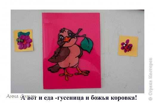 Картина, панно, рисунок Аппликация из пластилина (+ обратная):  На каникулах мы не скучаем! Птички-витражи! Пластилин. Фото 6