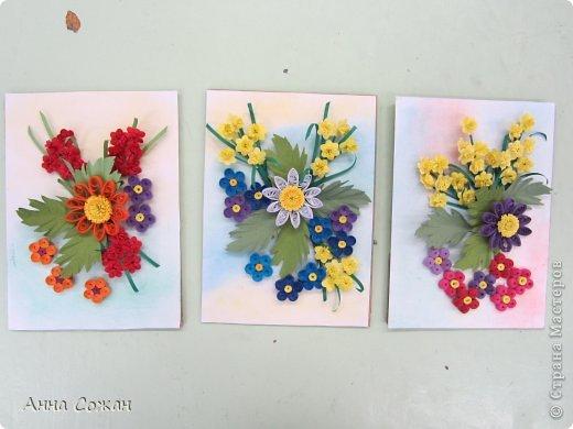 Картина, панно, рисунок Бумагопластика, Квиллинг: Цветочные композиции от моих учениц! Бумажные полосы, Пастель. Фото 1
