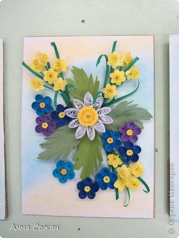 Картина, панно, рисунок Бумагопластика, Квиллинг: Цветочные композиции от моих учениц! Бумажные полосы, Пастель. Фото 3