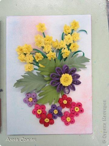 Картина, панно, рисунок Бумагопластика, Квиллинг: Цветочные композиции от моих учениц! Бумажные полосы, Пастель. Фото 4
