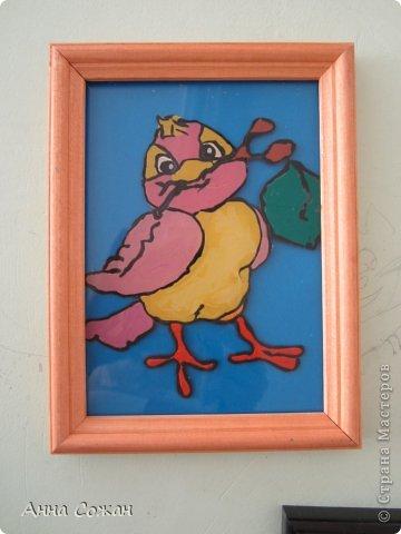 Картина, панно, рисунок Аппликация из пластилина (+ обратная):  На каникулах мы не скучаем! Птички-витражи! Пластилин. Фото 11