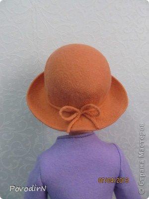 Мастер-класс Валяние (фильцевание): Валяная шляпка для куклы.  Шерсть. Фото 29
