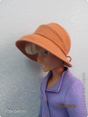 Мастер-класс Валяние (фильцевание): Валяная шляпка для куклы.  Шерсть. Фото 31