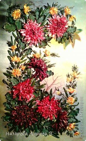 Картина, панно, рисунок, Мастер-класс Вышивка: Вышивка лентами.Осенний этюд. МК вышивка хризаннтемы. Ленты, Ткань. Фото 1