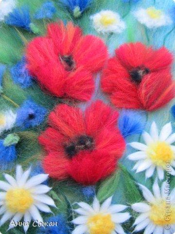 Картина, панно, рисунок Валяние (фильцевание), Рисование и живопись: Цветы полевые Шерсть. Фото 2