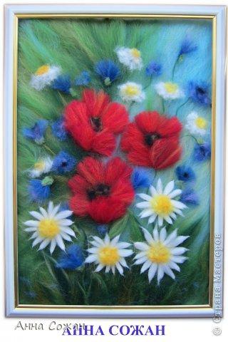 Картина, панно, рисунок Валяние (фильцевание), Рисование и живопись: Цветы полевые Шерсть. Фото 1
