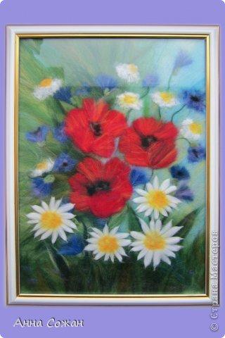 Картина, панно, рисунок Валяние (фильцевание), Рисование и живопись: Цветы полевые Шерсть. Фото 4