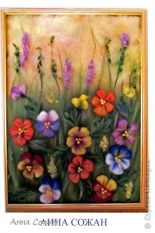 Картина, панно, рисунок Валяние (фильцевание), Рисование и живопись: Цветы полевые Шерсть. Фото 12