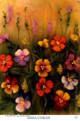 Картина, панно, рисунок Валяние (фильцевание), Рисование и живопись: Цветы полевые Шерсть. Фото 9