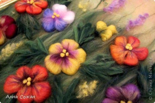 Картина, панно, рисунок Валяние (фильцевание), Рисование и живопись: Цветы полевые Шерсть. Фото 11
