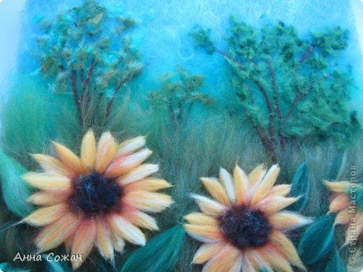 Картина, панно, рисунок Валяние (фильцевание), Рисование и живопись: Цветы полевые Шерсть. Фото 6