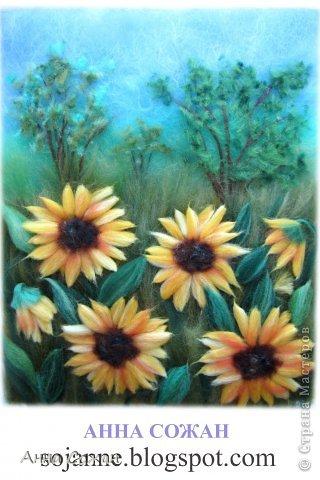 Картина, панно, рисунок Валяние (фильцевание), Рисование и живопись: Цветы полевые Шерсть. Фото 5