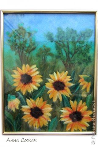 Картина, панно, рисунок Валяние (фильцевание), Рисование и живопись: Цветы полевые Шерсть. Фото 8