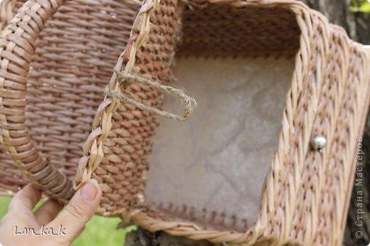 Поделка изделие Плетение Первая корзина для пикника Бумага газетная Трубочки бумажные фото 22