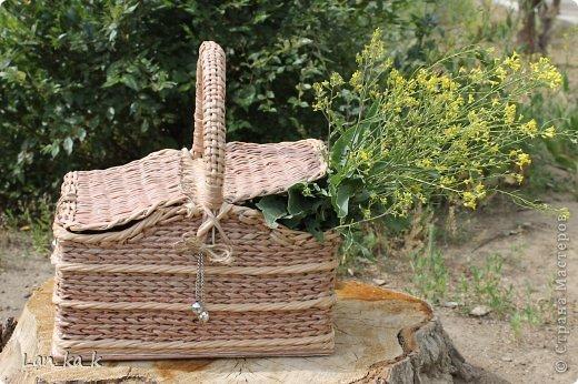 Поделка изделие Плетение Первая корзина для пикника Бумага газетная Трубочки бумажные фото 24