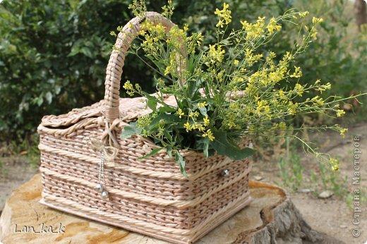 Поделка изделие Плетение Первая корзина для пикника Бумага газетная Трубочки бумажные фото 2
