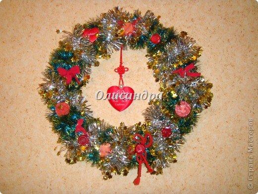 Вчера,гуляя по Стране Мастеров,я увидела рождественский венок  http://stranamasterov.ru/node/129253 Конечно,я смотрела на них и раньше, но этот меня вдохновил... Вдохновение совпало с наличием свободного времени ... и процесс начался.... Фото 1