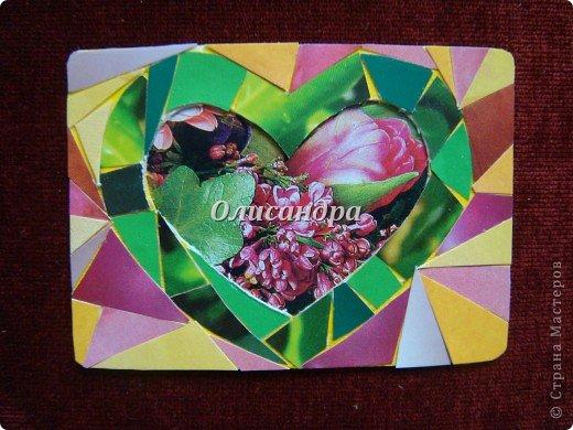 """Очень люблю мозайку, и , даже, пробовала свои силы, украшая коробочки...   http://stranamasterov.ru/blog/34319/438 Подумала, а почему бы также не сделать АТС?  Слоган """"Зеленое сердце природы"""" уже давно вертелся в голове, правда, """"подходящей природы"""" я не нашла... Но,ведь, цветы- тоже частичка природы. Поэтому они заняли почетное место в """"зеленом сердце""""... Хочется, чтобы все серии ,как-то, отличались друг от друга...Хотя, понимаю, что опять получился примитивизм... Мозайка сделана из открыток, цветочный фон, находящийся внутри сердца ,слегка """"утоплен""""... Зазоры между частицами мозайки делала намеренно...Мне хотелось, чтобы были видны желтые прожилки... ******************************************** По-прежнему, пытаюсь отдать долги...  Мои милые """"кредиторы""""! Я не буду Вас называть... Потому что не уверена, что эта серия всем придется по душе... Буду делать до тех пор, пока Вам что-нибудь не понравится ... и ,пока, я не рассчитаюсь со всеми долгами...Торжественно обещаю...! А если понравится...выбирайте...буду рада!. Фото 4"""