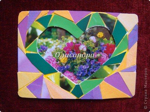 """Очень люблю мозайку, и , даже, пробовала свои силы, украшая коробочки...   http://stranamasterov.ru/blog/34319/438 Подумала, а почему бы также не сделать АТС?  Слоган """"Зеленое сердце природы"""" уже давно вертелся в голове, правда, """"подходящей природы"""" я не нашла... Но,ведь, цветы- тоже частичка природы. Поэтому они заняли почетное место в """"зеленом сердце""""... Хочется, чтобы все серии ,как-то, отличались друг от друга...Хотя, понимаю, что опять получился примитивизм... Мозайка сделана из открыток, цветочный фон, находящийся внутри сердца ,слегка """"утоплен""""... Зазоры между частицами мозайки делала намеренно...Мне хотелось, чтобы были видны желтые прожилки... ******************************************** По-прежнему, пытаюсь отдать долги...  Мои милые """"кредиторы""""! Я не буду Вас называть... Потому что не уверена, что эта серия всем придется по душе... Буду делать до тех пор, пока Вам что-нибудь не понравится ... и ,пока, я не рассчитаюсь со всеми долгами...Торжественно обещаю...! А если понравится...выбирайте...буду рада!. Фото 5"""