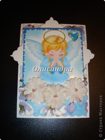 """Ангелы ... Думаю,что ангелы бывают разные... С """"серебряными"""" я Вас уже знакомила...  http://stranamasterov.ru/node/179453?t=1743 А сегодня хочу представить """"Яблочных ангелов""""... Название родилось само собой, когда я решила, что фоном будет салфетка с яблочным мотивом.... Фото 3"""