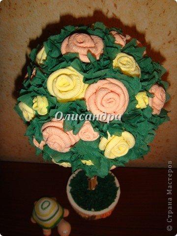 """Не так давно  увлеклась """"розовыми деревьями"""", т.е. деревьями из роз... И увлекалась так, что """"посадочного материала"""", а именно, салфеток...хватит на большой - большой сад... Нельзя пускать меня в магазин  на """"пике увлечения""""... В общем, покупала  однотонные салфетки разных расцветок... А в пачке их, как Вы понимаете, намного больше, чем надо на дерево... Использовать салфетки по прямому назначению , рука не поднимается... Теперь смотрю на них, исключительно, как на поделочный материал... и периодически делаю деревья...  Странно то, что я не люблю делать одно и тоже, а эти деревья  до сих пор не надоели... Видимо потому, что разное сочетание розочек и выглядит по-разному... ,поэтому никогда не знаю, каким , дерево будет в итоге... И, именно, эта неизвестность меня  привлекает ... В итоге эта """"неизвестность"""" приобретает определенные черты... http://stranamasterov.ru/node/151489?t=292 ********************************************* Если кто-то видит такое дерево впервые и оно """"заденет струны души"""", то все МК можно найти здесь... http://stranamasterov.ru/blog/34319/329 Там, конечно, не только розы..., но ,зато, все в одном месте... А сейчас , просто, мини-отчет о проделанной работе... . Фото 14"""
