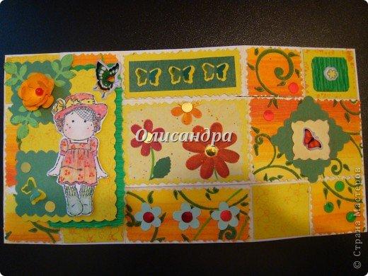 """Не отпускает меня """"Тильдомания""""... Но делать открытки-стойки уже надоело, хотя они мне очень нравятся... Рискнула сделать что-то другое... Понравилась такая форма...Похожа на гармошку... Впервые увидела ее в блоге у Голубки  http://stranamasterov.ru/node/159818?t=311   , но тогда я и представить себе не могла, что увлекусь открытками и скрапом... У Голубки есть ссылка на этот МК http://scrapmania.moy.su/forum/32-293-1 Я нашла еще один...   http://www.liveinternet.ru/users/4443300/post181848694 Если захотите сделать, выберите тот, что Вам больше подходит... Сделала уже не одну открытку, а мучаюсь каждый раз, будто делаю впервые... Страшно сказать...На одну открытку уходит 5-8 часов... Вот, такая я копуша... И как меня еще терпят дома!!! Не понимаю... Думаю, что необходимо сформировать в голове какие-то свои """"шаблоны"""" и тогда процесс пойдет быстрее, а для этого надо сделать еще очень много открыток, АТСок и т.д. и т.п... И все это ради одной """"великой"""" цели... СКРАП-АЛЬБОМА для фото.... Фото 10"""