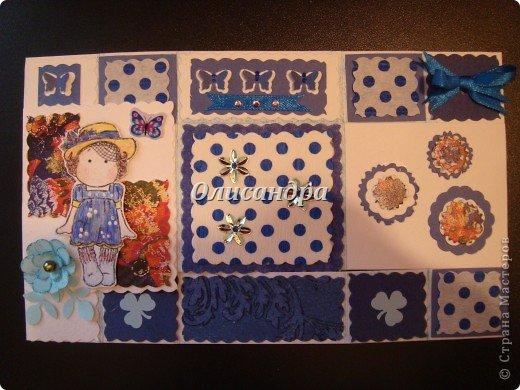 """Не отпускает меня """"Тильдомания""""... Но делать открытки-стойки уже надоело, хотя они мне очень нравятся... Рискнула сделать что-то другое... Понравилась такая форма...Похожа на гармошку... Впервые увидела ее в блоге у Голубки  http://stranamasterov.ru/node/159818?t=311   , но тогда я и представить себе не могла, что увлекусь открытками и скрапом... У Голубки есть ссылка на этот МК http://scrapmania.moy.su/forum/32-293-1 Я нашла еще один...   http://www.liveinternet.ru/users/4443300/post181848694 Если захотите сделать, выберите тот, что Вам больше подходит... Сделала уже не одну открытку, а мучаюсь каждый раз, будто делаю впервые... Страшно сказать...На одну открытку уходит 5-8 часов... Вот, такая я копуша... И как меня еще терпят дома!!! Не понимаю... Думаю, что необходимо сформировать в голове какие-то свои """"шаблоны"""" и тогда процесс пойдет быстрее, а для этого надо сделать еще очень много открыток, АТСок и т.д. и т.п... И все это ради одной """"великой"""" цели... СКРАП-АЛЬБОМА для фото.... Фото 19"""