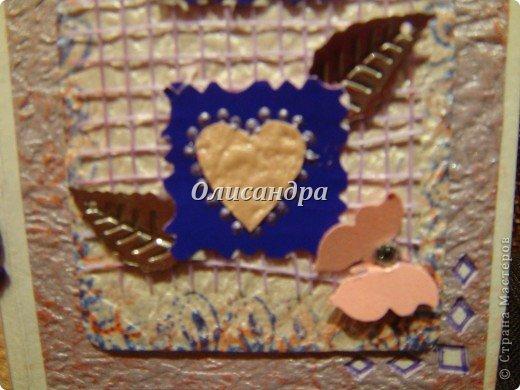 В подарок сделала сиреневое дерево  http://stranamasterov.ru/node/240655 и решила, что открытка должна быть в таких же тонах... Раньше делала открытки из подручного материала... Дала себе такую установку, пока не научусь...   Еще не научилась, но все-таки, зашла в магазин и слегка разорилась.... Фото 12