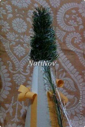 Мастер-класс Моделирование: Пушистые красавицы.Елочка из травки. Нитки Новый год. Фото 8