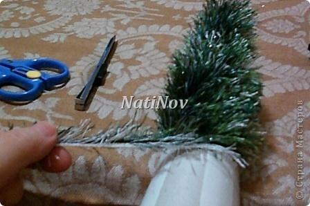 Мастер-класс Моделирование: Пушистые красавицы.Елочка из травки. Нитки Новый год. Фото 9