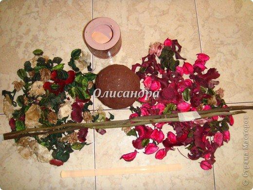 Здравствуйте, мои дорогие! Сделала небольшой презентик для подружки... топиарий из сухоцветов .... Фото 4