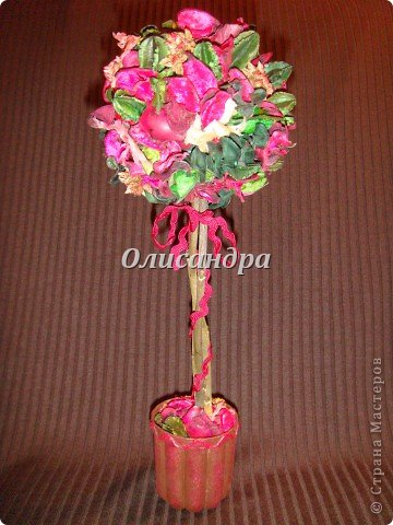 Здравствуйте, мои дорогие! Сделала небольшой презентик для подружки... топиарий из сухоцветов .... Фото 2