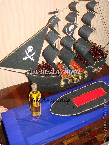Мастер-класс, Свит-дизайн Моделирование: Пиратский корабль с сюрпризом + МК (много фото) Бумага бархатная, Бумага гофрированная, Пенопласт, Продукты пищевые 23 февраля, День рождения. Фото 3