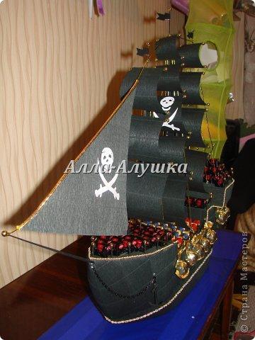 Мастер-класс, Свит-дизайн Моделирование: Пиратский корабль с сюрпризом + МК (много фото) Бумага бархатная, Бумага гофрированная, Пенопласт, Продукты пищевые 23 февраля, День рождения. Фото 5