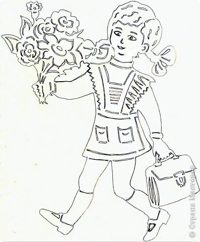 Картина панно рисунок Начало учебного года Вырезание Дети в школу собирайтесь Бумага фото 7