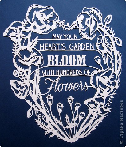 Картина панно рисунок Вырезание Цветочное сердце_Sarah Trumbauer Бумага фото 13