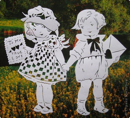 Картина панно рисунок Валентинов день Вырезание Валентинка Бумага фото 5