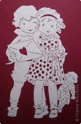 Картина панно рисунок Валентинов день Вырезание Валентинка Бумага фото 8