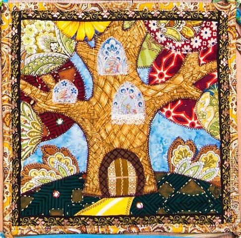 Картина панно рисунок Пэчворк Лоскутное панно Текстильная страна Ткань фото 1