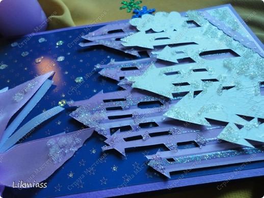 Открытка Новый год Рождество Ассамбляж НО ЕСТЬ ТАКИЕ ДОМА ВОЛШЕБНЫЕ   + шаблон Бумага Бусинки Ленты фото 2