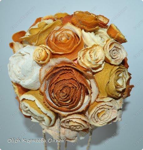 Мастер-класс Поделка изделие Моделирование конструирование Воздушный шар в апельсиновых розах Клей Краска Продукты пищевые Шпагат фото 2
