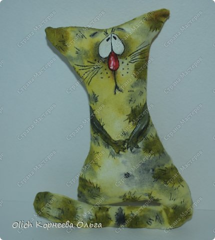 Игрушка Мастер-класс Рисование и живопись Шитьё Разукрашиваем текстильного кота Краска Ткань фото 9