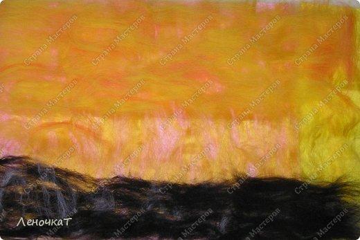 Картина панно рисунок Мастер-класс Валяние фильцевание Бархатный закат Шерсть фото 5