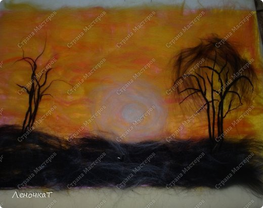 Картина панно рисунок Мастер-класс Валяние фильцевание Бархатный закат Шерсть фото 8