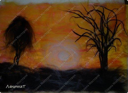Картина панно рисунок Мастер-класс Валяние фильцевание Бархатный закат Шерсть фото 10