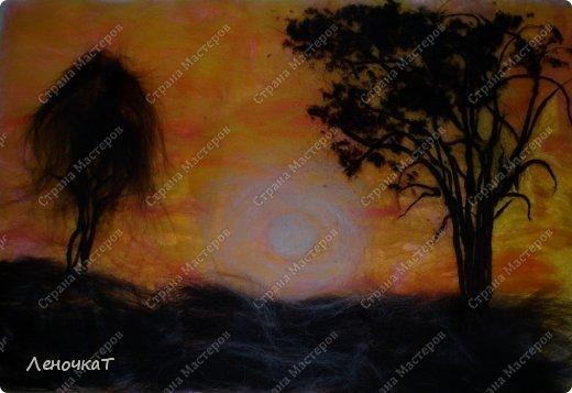 Картина панно рисунок Мастер-класс Валяние фильцевание Бархатный закат Шерсть фото 11