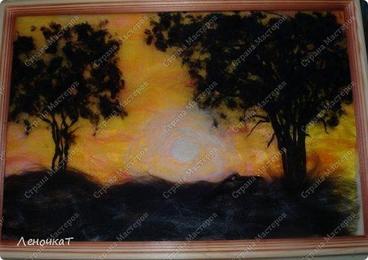 Картина панно рисунок Мастер-класс Валяние фильцевание Бархатный закат Шерсть фото 12