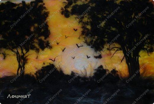 Картина панно рисунок Мастер-класс Валяние фильцевание Бархатный закат Шерсть фото 13