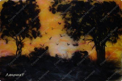 Картина панно рисунок Мастер-класс Валяние фильцевание Бархатный закат Шерсть фото 1